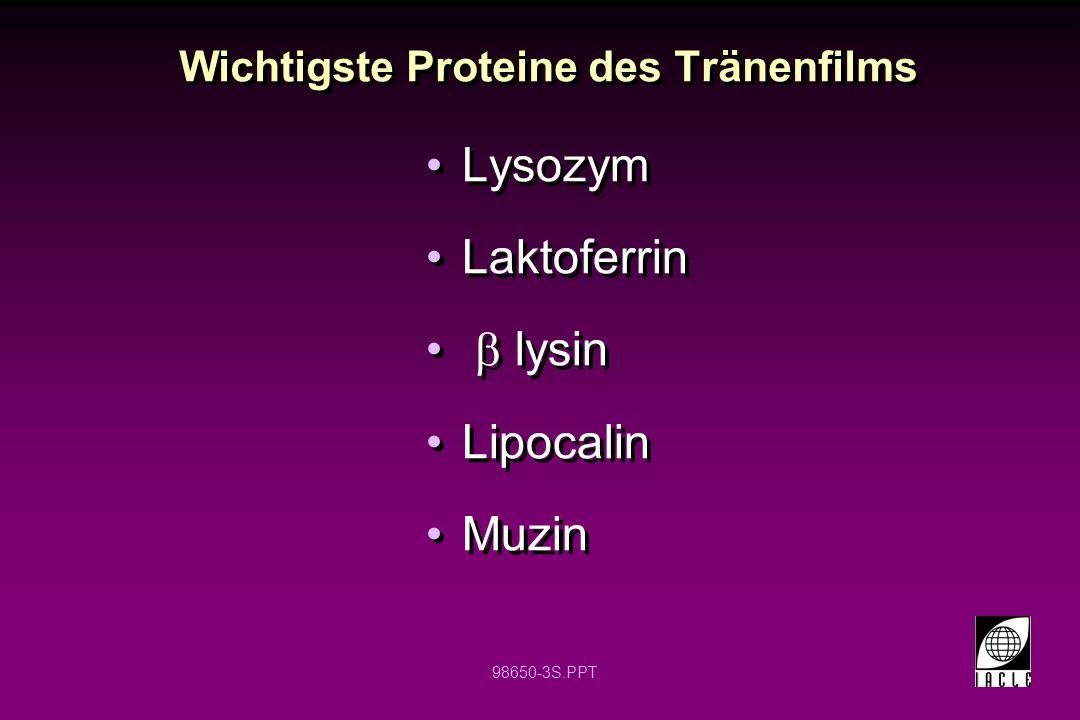 98650-54S.PPT Spezifische Abwehr des Wirtes Beruht auf der Produktion des Immunglobulins sIgA ist der wichtigste Antikörper im Tränenfilm IgE ist der wichtigste Antikörper bei allergischen Reaktionen Verhindert, dass Mikroorganismen das Auge besiedeln und hilft bei der Erkennung von Mikroorganismen durch Zellkomponenten Dentritische Zellen signalisieren den T Zellen, dass Mikroorganismen anwesend sind T Zellen signalisieren den B Zellen, dass diese spezifische Antikörper bilden sollen Aufnahme und Abtöten der Mikroorganismen, die von Antikörpern u./o.