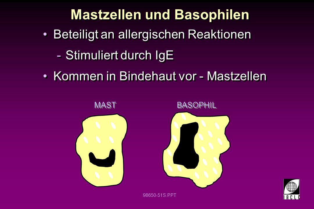 98650-51S.PPT Mastzellen und Basophilen Beteiligt an allergischen Reaktionen -Stimuliert durch IgE Kommen in Bindehaut vor - Mastzellen Beteiligt an a