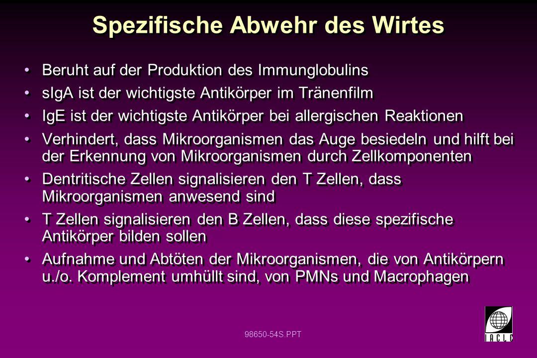 98650-54S.PPT Spezifische Abwehr des Wirtes Beruht auf der Produktion des Immunglobulins sIgA ist der wichtigste Antikörper im Tränenfilm IgE ist der