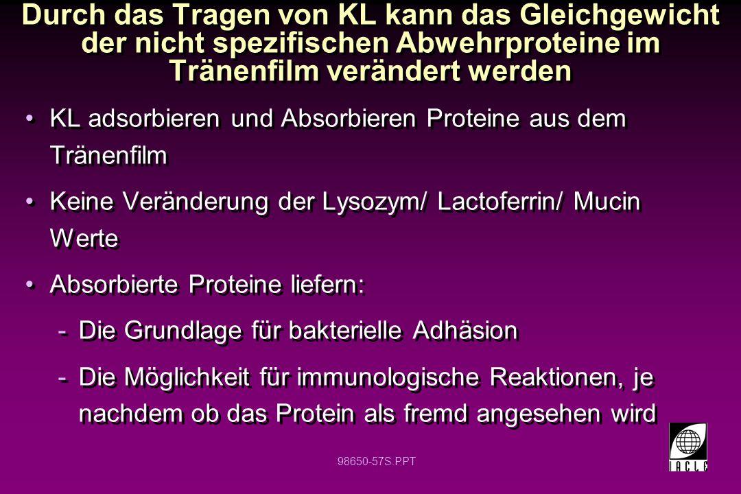 98650-57S.PPT Durch das Tragen von KL kann das Gleichgewicht der nicht spezifischen Abwehrproteine im Tränenfilm verändert werden KL adsorbieren und A