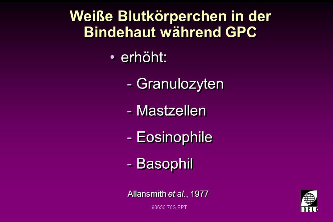 98650-70S.PPT Weiße Blutkörperchen in der Bindehaut während GPC Allansmith et al., 1977 erhöht: -Granulozyten -Mastzellen -Eosinophile -Basophil erhöh