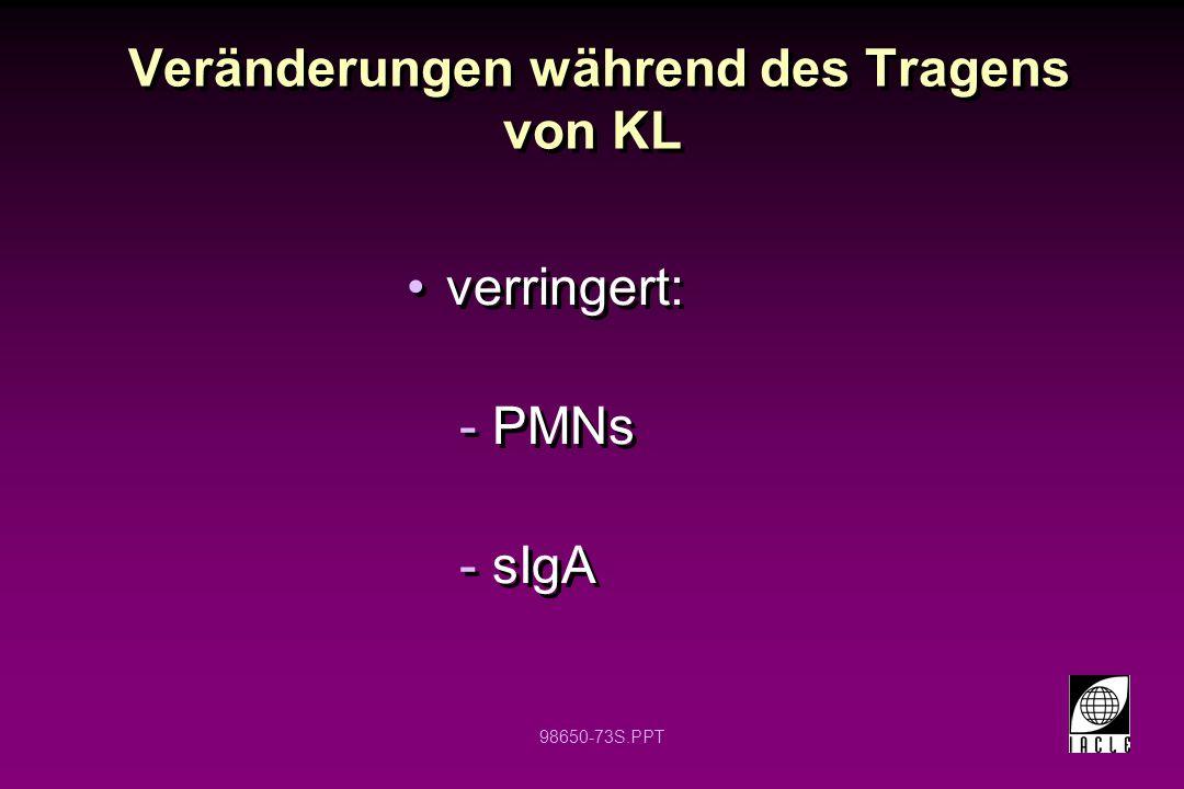 98650-73S.PPT Veränderungen während des Tragens von KL verringert: -PMNs -sIgA verringert: -PMNs -sIgA