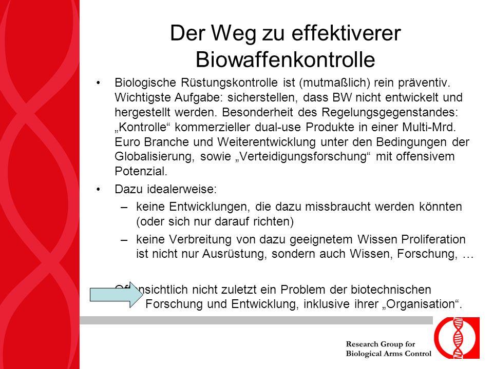 Biologische Rüstungskontrolle ist (mutmaßlich) rein präventiv. Wichtigste Aufgabe: sicherstellen, dass BW nicht entwickelt und hergestellt werden. Bes