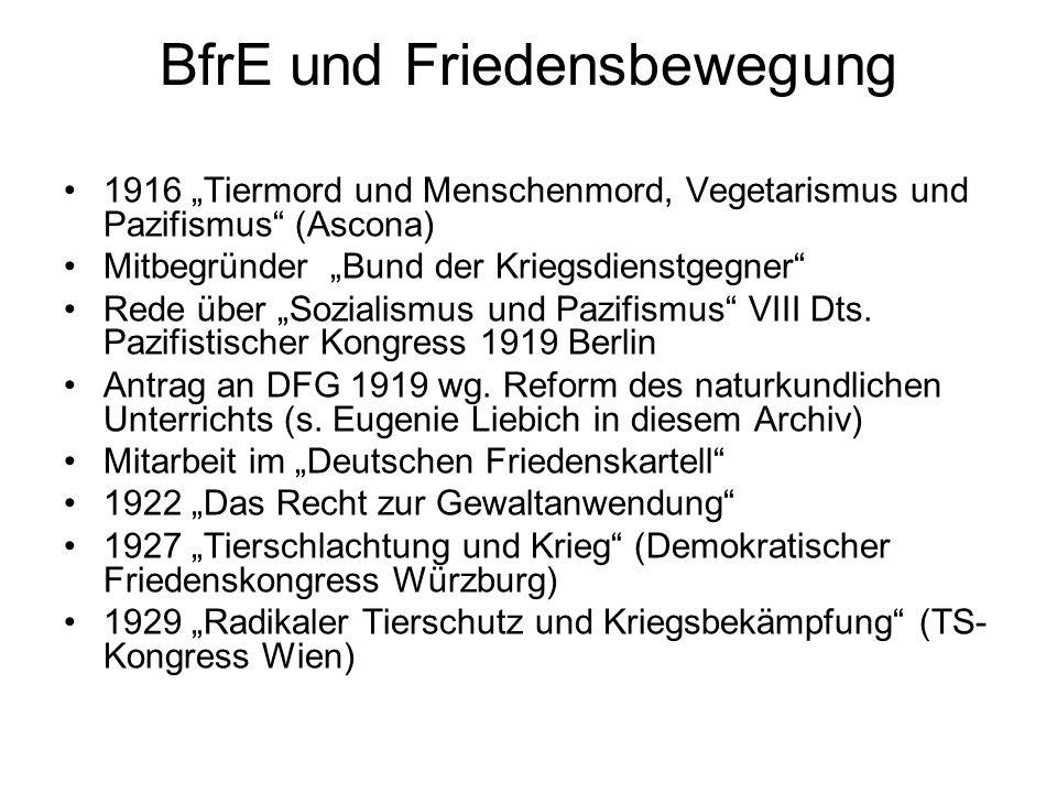 """BfrE und Friedensbewegung 1916 """"Tiermord und Menschenmord, Vegetarismus und Pazifismus (Ascona) Mitbegründer """"Bund der Kriegsdienstgegner Rede über """"Sozialismus und Pazifismus VIII Dts."""