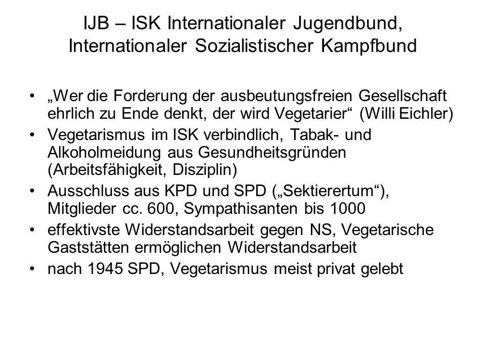 """IJB – ISK Internationaler Jugendbund, Internationaler Sozialistischer Kampfbund """"Wer die Forderung der ausbeutungsfreien Gesellschaft ehrlich zu Ende denkt, der wird Vegetarier (Willi Eichler) Vegetarismus im ISK verbindlich, Tabak- und Alkoholmeidung aus Gesundheitsgründen (Arbeitsfähigkeit, Disziplin) Ausschluss aus KPD und SPD (""""Sektierertum ), Mitglieder cc."""