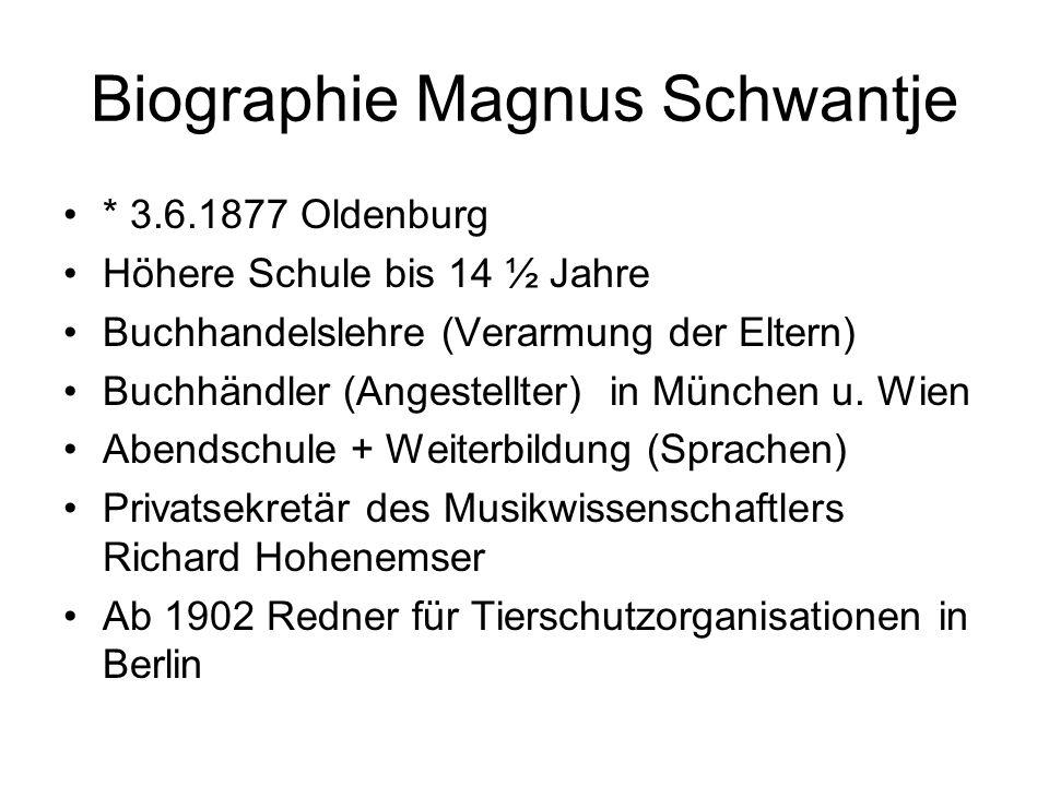 Vegetarische Organisationen + Tierrechtsargumente Deutscher Vegetarierbund (DVB) *1892- 1935, 1904 1500 Mitgl., Zs.