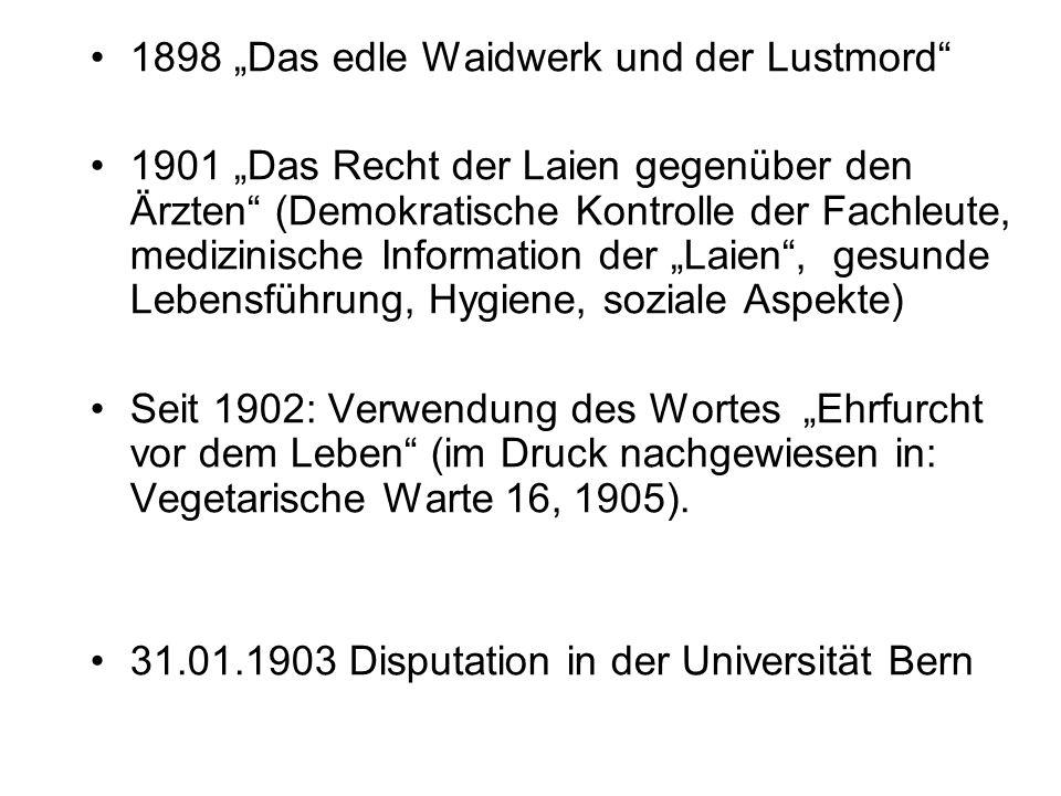 """Ethischer / Gesundheitsvegetarismus Der Deutsche Vegetarierbund betont…, daß ihm die Lösung der Ernährungsfrage immer erst in zweiter Linie steht, während ihm die ethische Frage die allein wirklich wesentliche ist (Vegetarische Warte 5, 1931) Das alte Schlagwort """"nichts vom toten Tier hat sich als höchst gefährlich und somit als unhaltbar erwiesen, der neuen Parole """"gar nichts mehr vom Tier allein gehört die Zukunft."""