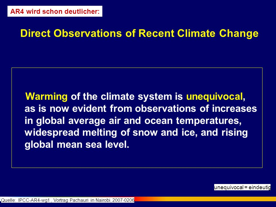 Some aspects of climate have not been observed to change: Tornadoes Dust-storms Hail Lightning Antarctic sea ice Direct Observations of Recent Climate Change Quelle: IPCC-AR4-wg1, Vortrag Pachauri in Nairobi, 2007-0206