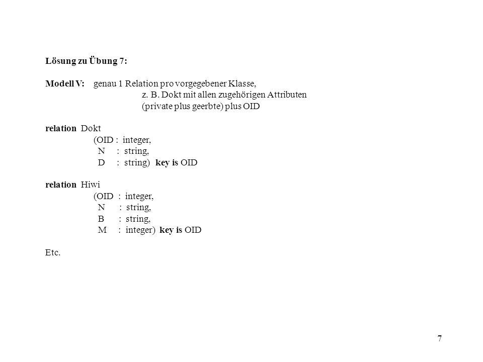 7 Lösung zu Übung 7: Modell V:genau 1 Relation pro vorgegebener Klasse, z. B. Dokt mit allen zugehörigen Attributen (private plus geerbte) plus OID re