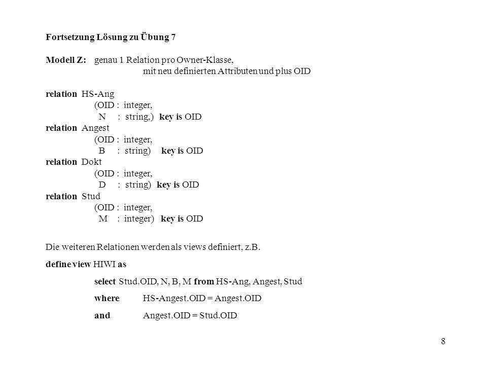 8 Fortsetzung Lösung zu Übung 7 Modell Z:genau 1 Relation pro Owner-Klasse, mit neu definierten Attributen und plus OID relation HS-Ang (OID : integer