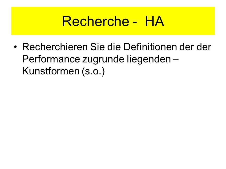 Recherche - HA Recherchieren Sie die Definitionen der der Performance zugrunde liegenden – Kunstformen (s.o.)