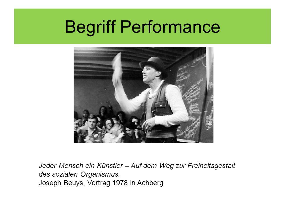 Begriff Performance Jeder Mensch ein Künstler – Auf dem Weg zur Freiheitsgestalt des sozialen Organismus. Joseph Beuys, Vortrag 1978 in Achberg