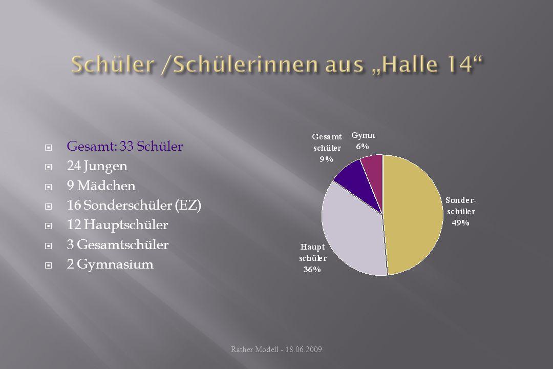  Gesamt: 33 Schüler  24 Jungen  9 Mädchen  16 Sonderschüler (EZ)  12 Hauptschüler  3 Gesamtschüler  2 Gymnasium Rather Modell - 18.06.2009
