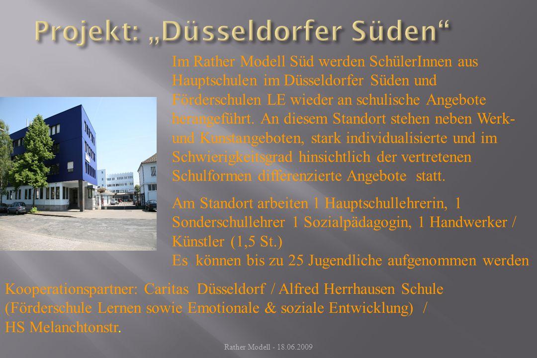 Im Rather Modell Süd werden SchülerInnen aus Hauptschulen im Düsseldorfer Süden und Förderschulen LE wieder an schulische Angebote herangeführt. An di