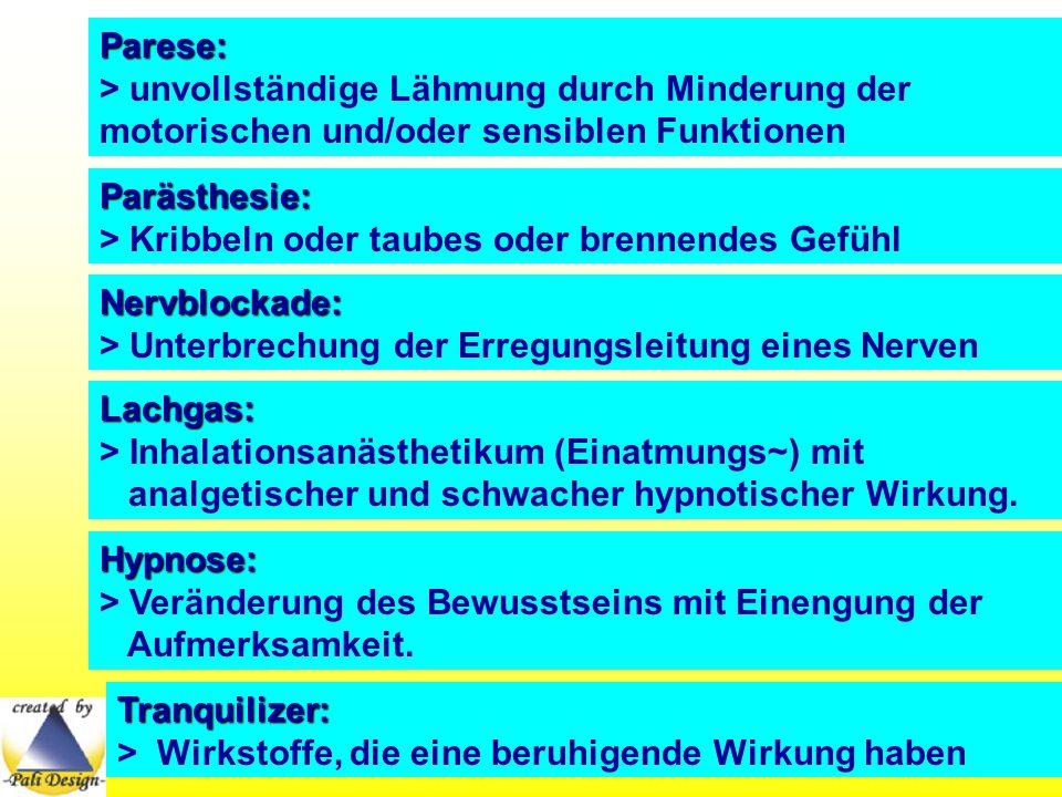 Parese: > unvollständige Lähmung durch Minderung der motorischen und/oder sensiblen Funktionen Parästhesie: > Kribbeln oder taubes oder brennendes Gef