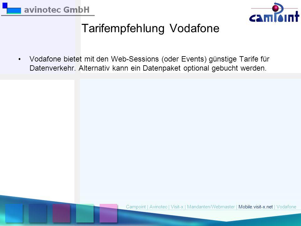Tarifempfehlung Vodafone Vodafone bietet mit den Web-Sessions (oder Events) günstige Tarife für Datenverkehr. Alternativ kann ein Datenpaket optional