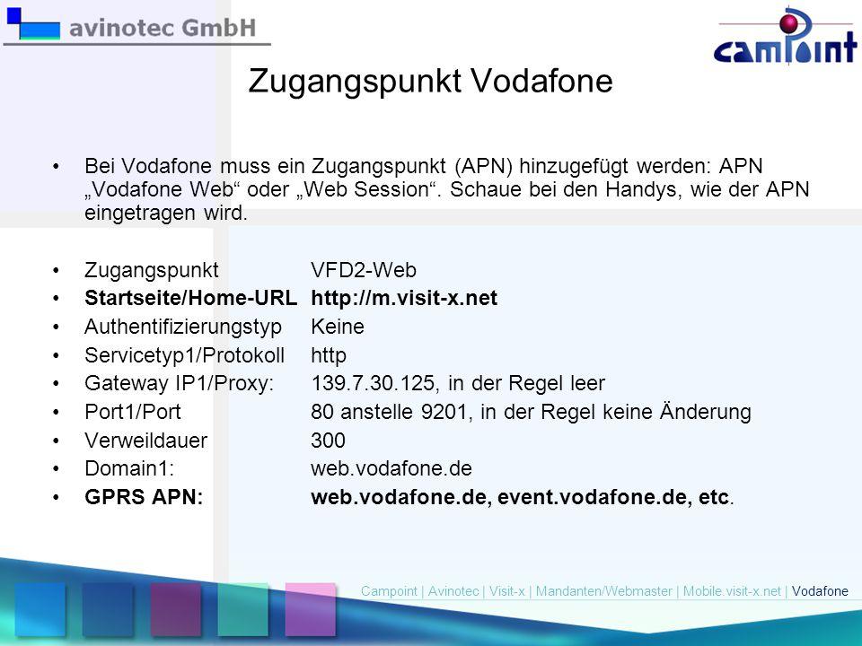 "Zugangspunkt Vodafone Bei Vodafone muss ein Zugangspunkt (APN) hinzugefügt werden: APN ""Vodafone Web"" oder ""Web Session"". Schaue bei den Handys, wie d"