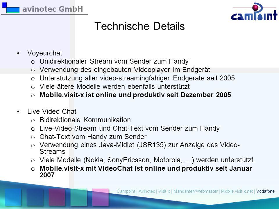 Technische Details Voyeurchat o Unidirektionaler Stream vom Sender zum Handy o Verwendung des eingebauten Videoplayer im Endgerät o Unterstützung alle