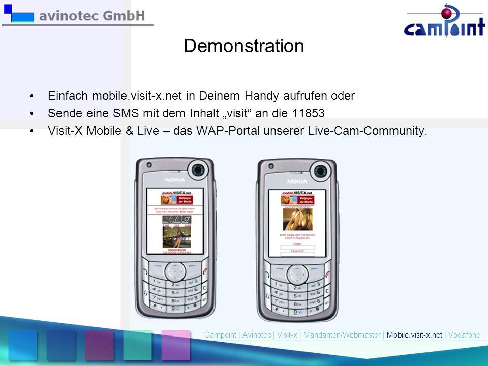 """Demonstration Einfach mobile.visit-x.net in Deinem Handy aufrufen oder Sende eine SMS mit dem Inhalt """"visit"""" an die 11853 Visit-X Mobile & Live – das"""