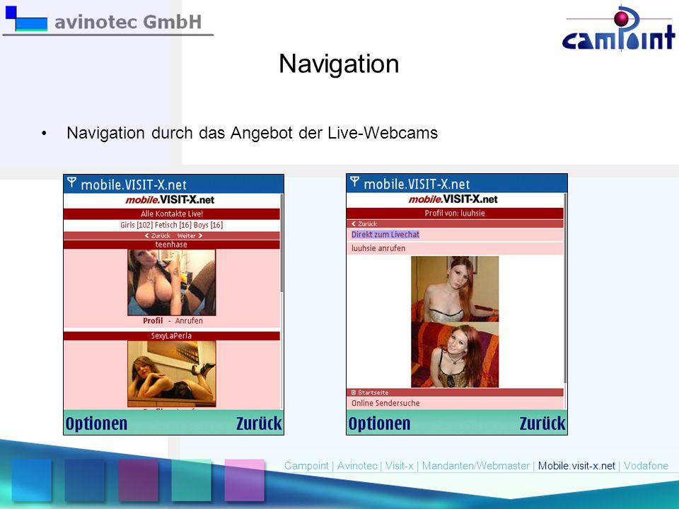 Navigation Navigation durch das Angebot der Live-Webcams Campoint   Avinotec   Visit-x   Mandanten/Webmaster   Mobile.visit-x.net   Vodafone
