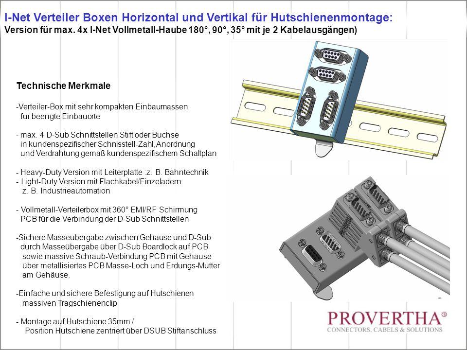 Technische Merkmale -Verteiler-Box mit sehr kompakten Einbaumassen für beengte Einbauorte - max. 4 D-Sub Schnittstellen Stift oder Buchse in kundenspe