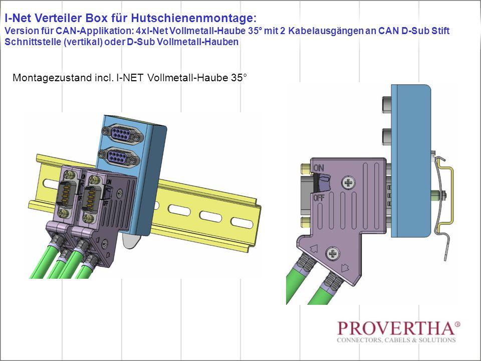 Montagezustand incl. I-NET Vollmetall-Haube 35° I-Net Verteiler Box für Hutschienenmontage: Version für CAN-Applikation: 4xI-Net Vollmetall-Haube 35°