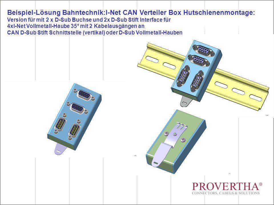 Beispiel-Lösung Bahntechnik:I-Net CAN Verteiler Box Hutschienenmontage: Version für mit 2 x D-Sub Buchse und 2x D-Sub Stift Interface für 4xI-Net Voll