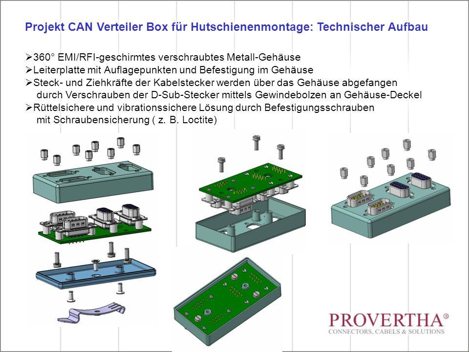  360° EMI/RFI-geschirmtes verschraubtes Metall-Gehäuse  Leiterplatte mit Auflagepunkten und Befestigung im Gehäuse  Steck- und Ziehkräfte der Kabelstecker werden über das Gehäuse abgefangen durch Verschrauben der D-Sub-Stecker mittels Gewindebolzen an Gehäuse-Deckel  Rüttelsichere und vibrationssichere Lösung durch Befestigungsschrauben mit Schraubensicherung ( z.