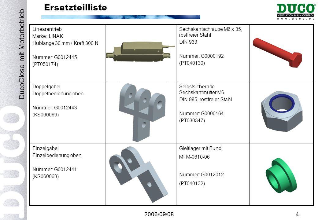 2006/09/084 Ersatzteilliste Linearantrieb Marke: LINAK Hublänge 30 mm / Kraft 300 N Nummer: G0012445 (PT050174) Sechskantschraube M6 x 35, rostfreier