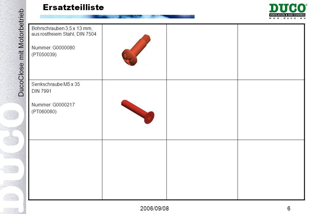 2006/09/086 Ersatzteilliste Bohrschrauben 3,5 x 13 mm, aus rostfreiem Stahl, DIN 7504 Nummer: G0000080 (PT050039) Senkschraube M5 x 35 DIN 7991 Nummer