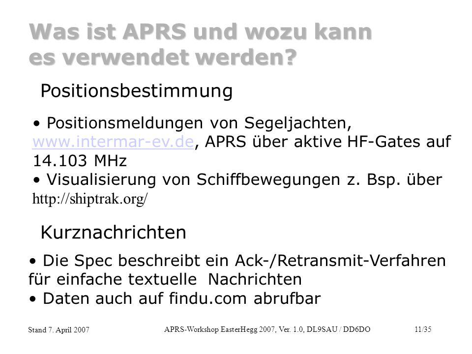 APRS-Workshop EasterHegg 2007, Ver. 1.0, DL9SAU / DD6DO11/35 Stand 7. April 2007 Was ist APRS und wozu kann es verwendet werden? Positionsbestimmung P