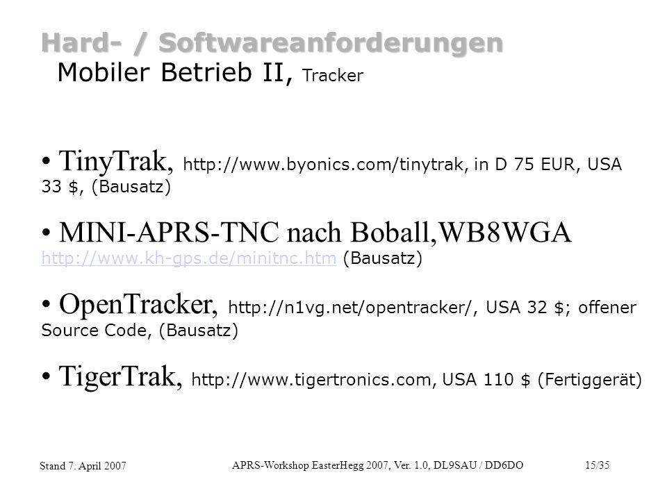 APRS-Workshop EasterHegg 2007, Ver. 1.0, DL9SAU / DD6DO15/35 Stand 7. April 2007 Hard- / Softwareanforderungen Mobiler Betrieb II, Tracker TinyTrak, h