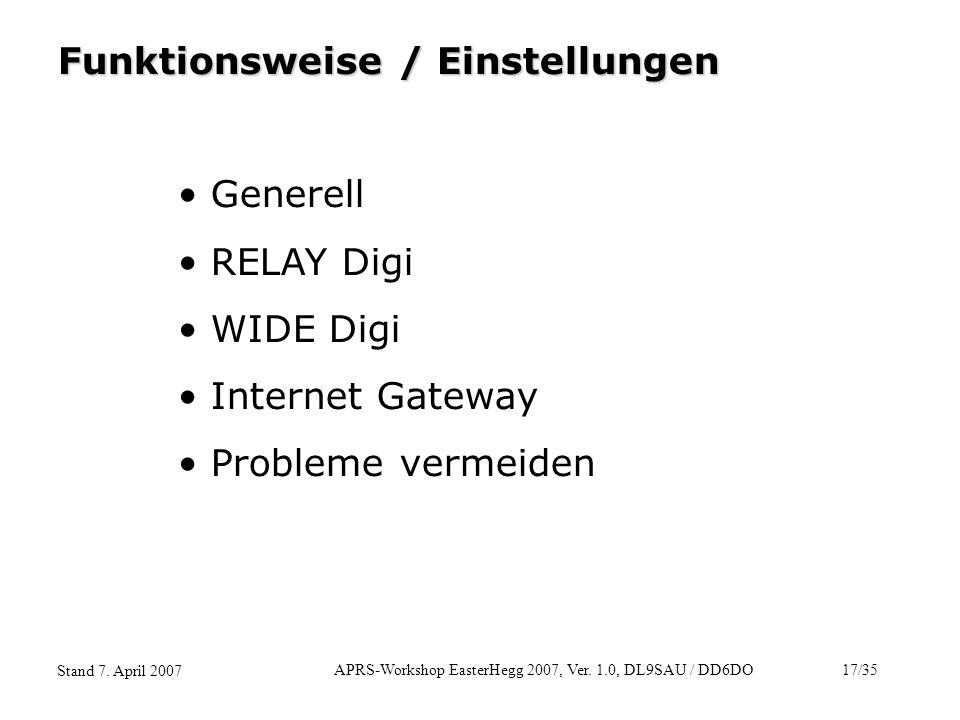 APRS-Workshop EasterHegg 2007, Ver. 1.0, DL9SAU / DD6DO17/35 Stand 7. April 2007 Funktionsweise / Einstellungen Generell RELAY Digi WIDE Digi Internet