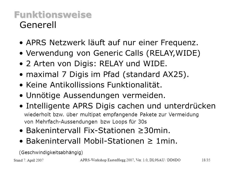 APRS-Workshop EasterHegg 2007, Ver. 1.0, DL9SAU / DD6DO18/35 Stand 7. April 2007 Funktionsweise Generell APRS Netzwerk läuft auf nur einer Frequenz. V