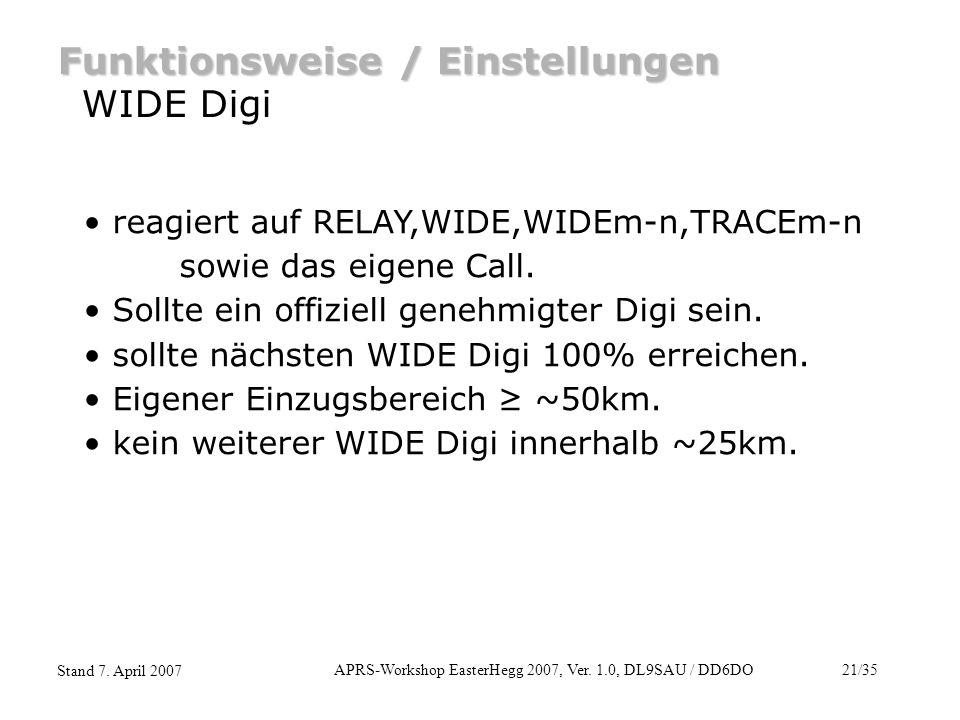 APRS-Workshop EasterHegg 2007, Ver. 1.0, DL9SAU / DD6DO21/35 Stand 7. April 2007 Funktionsweise / Einstellungen WIDE Digi reagiert auf RELAY,WIDE,WIDE