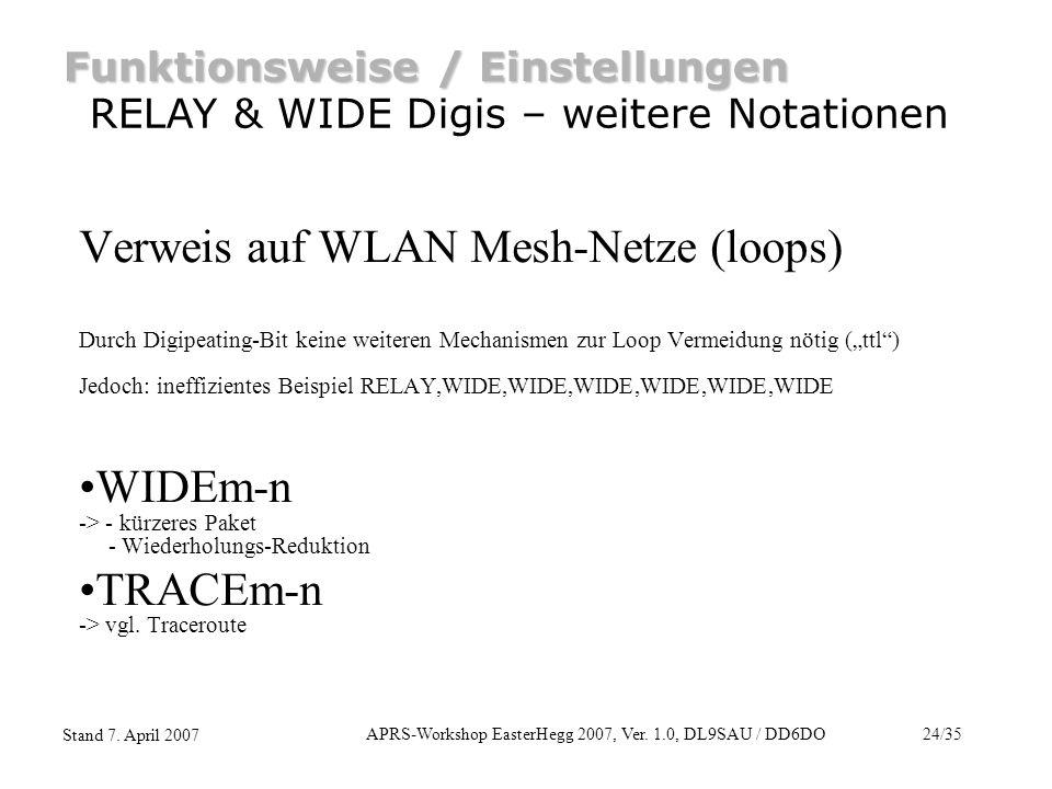 APRS-Workshop EasterHegg 2007, Ver. 1.0, DL9SAU / DD6DO24/35 Stand 7. April 2007 Funktionsweise / Einstellungen RELAY & WIDE Digis – weitere Notatione