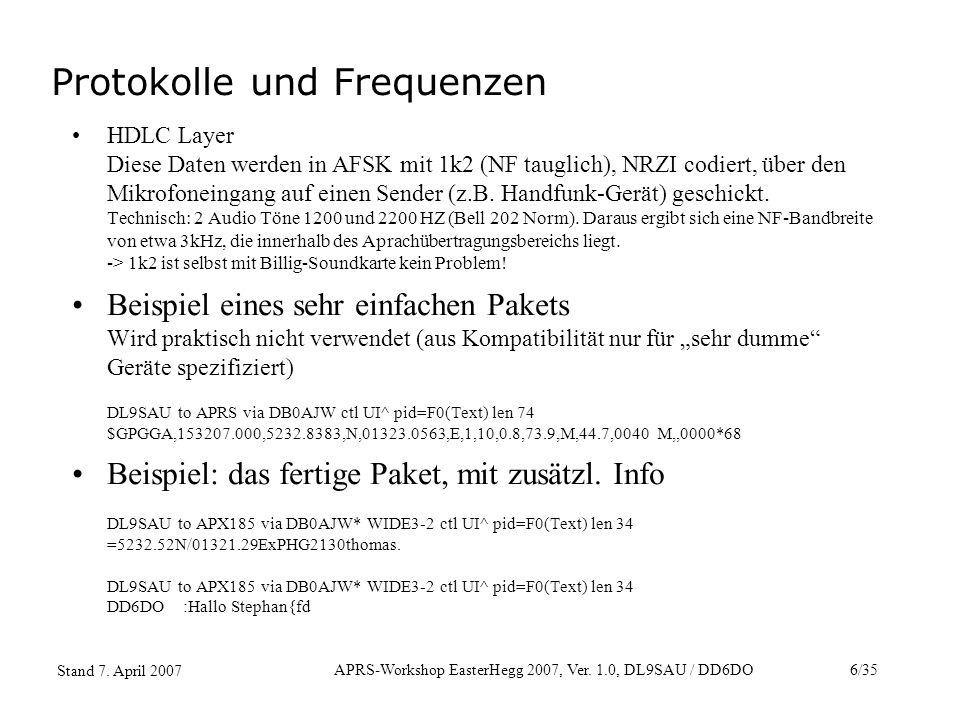 APRS-Workshop EasterHegg 2007, Ver. 1.0, DL9SAU / DD6DO6/35 Stand 7. April 2007 HDLC Layer Diese Daten werden in AFSK mit 1k2 (NF tauglich), NRZI codi