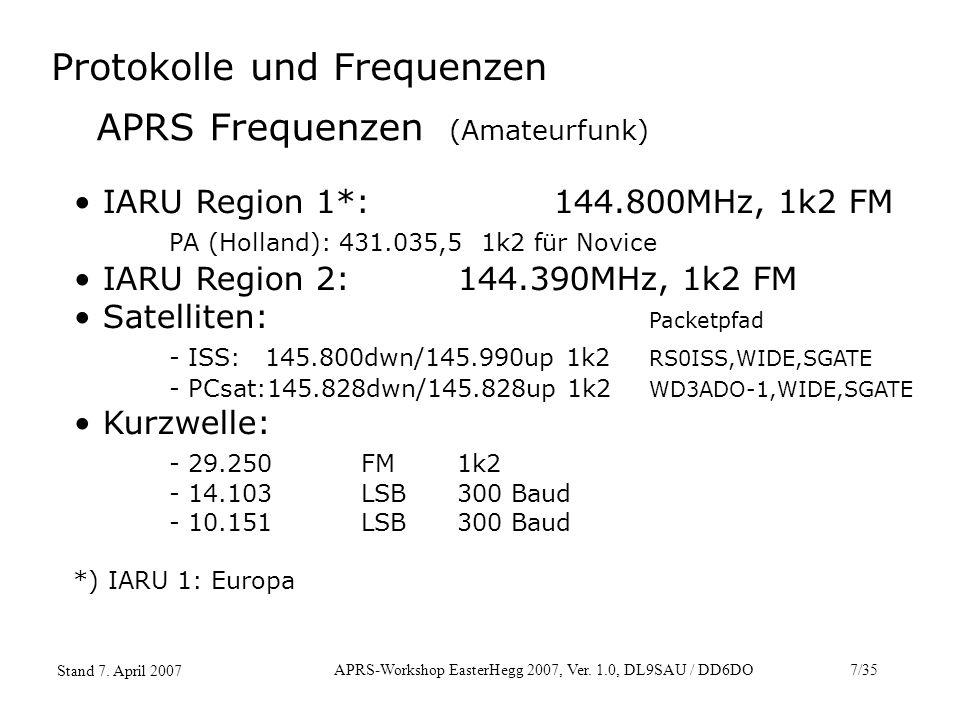 APRS-Workshop EasterHegg 2007, Ver. 1.0, DL9SAU / DD6DO7/35 Stand 7. April 2007 APRS Frequenzen (Amateurfunk) IARU Region 1*:144.800MHz, 1k2 FM PA (Ho