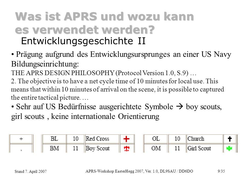 APRS-Workshop EasterHegg 2007, Ver. 1.0, DL9SAU / DD6DO9/35 Stand 7. April 2007 Was ist APRS und wozu kann es verwendet werden? Entwicklungsgeschichte