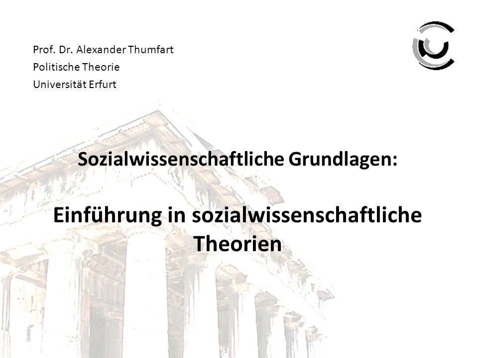 Sozialwissenschaftliche Grundlagen: Einführung in sozialwissenschaftliche Theorien Prof. Dr. Alexander Thumfart Politische Theorie Universität Erfurt