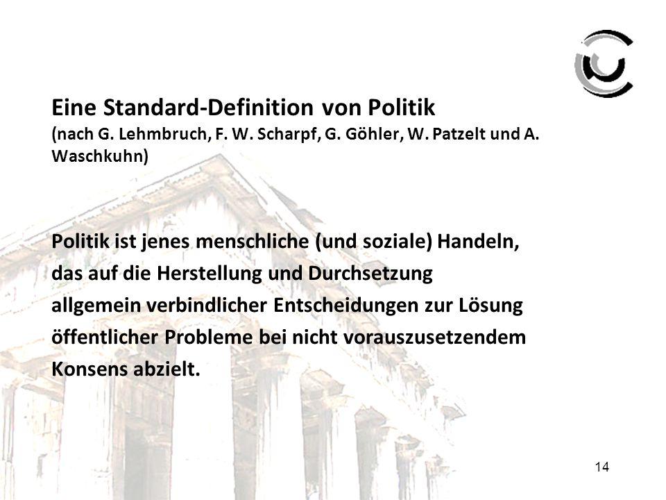 14 Eine Standard-Definition von Politik (nach G. Lehmbruch, F. W. Scharpf, G. Göhler, W. Patzelt und A. Waschkuhn) Politik ist jenes menschliche (und