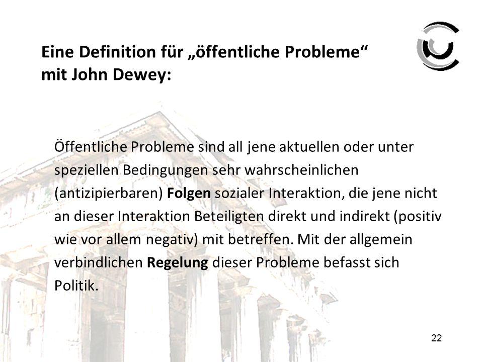 """22 Eine Definition für """"öffentliche Probleme"""" mit John Dewey: Öffentliche Probleme sind all jene aktuellen oder unter speziellen Bedingungen sehr wahr"""