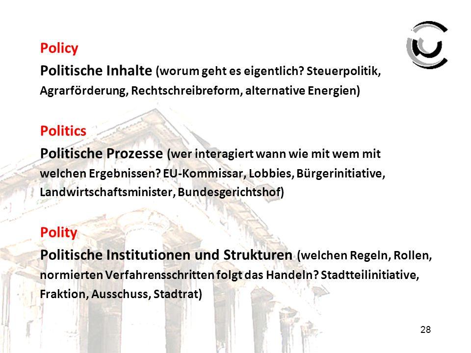 28 Policy Politische Inhalte (worum geht es eigentlich? Steuerpolitik, Agrarförderung, Rechtschreibreform, alternative Energien) Politics Politische P