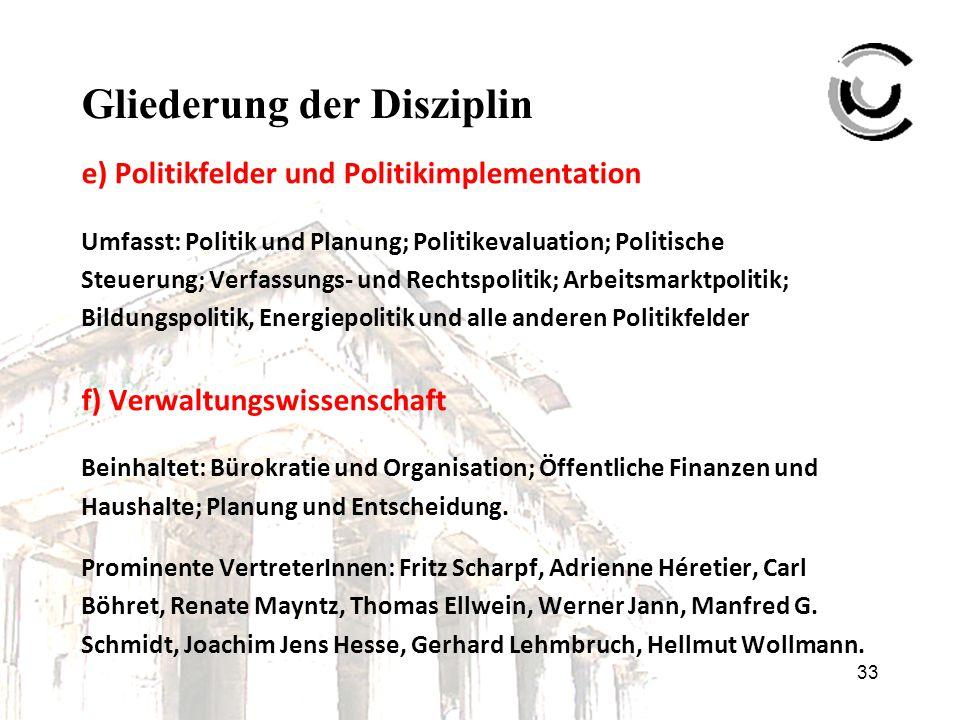 33 Gliederung der Disziplin e) Politikfelder und Politikimplementation Umfasst: Politik und Planung; Politikevaluation; Politische Steuerung; Verfassu