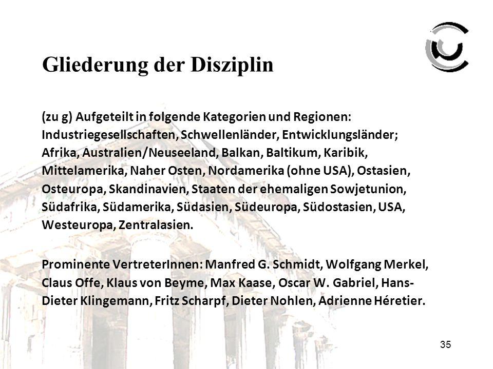 35 Gliederung der Disziplin (zu g) Aufgeteilt in folgende Kategorien und Regionen: Industriegesellschaften, Schwellenländer, Entwicklungsländer; Afrik