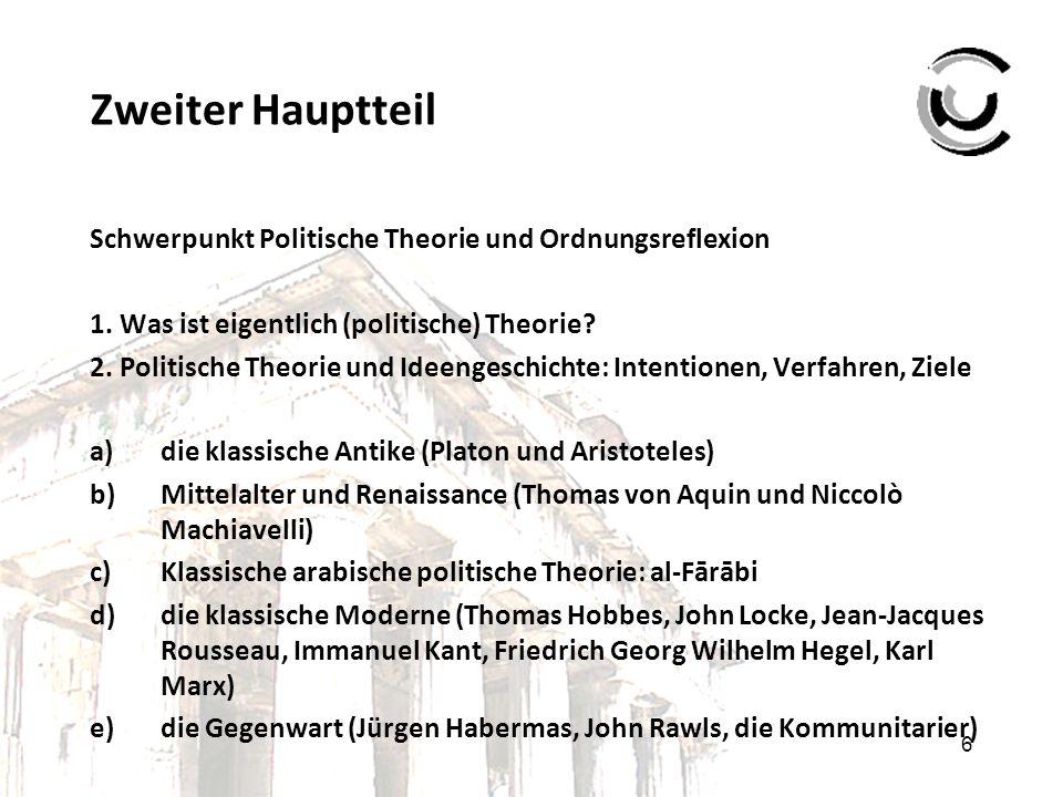 6 Zweiter Hauptteil Schwerpunkt Politische Theorie und Ordnungsreflexion 1. Was ist eigentlich (politische) Theorie? 2. Politische Theorie und Ideenge