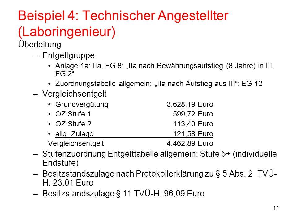 """11 Beispiel 4: Technischer Angestellter (Laboringenieur) Überleitung –Entgeltgruppe Anlage 1a: IIa, FG 8: """"IIa nach Bewährungsaufstieg (8 Jahre) in II"""