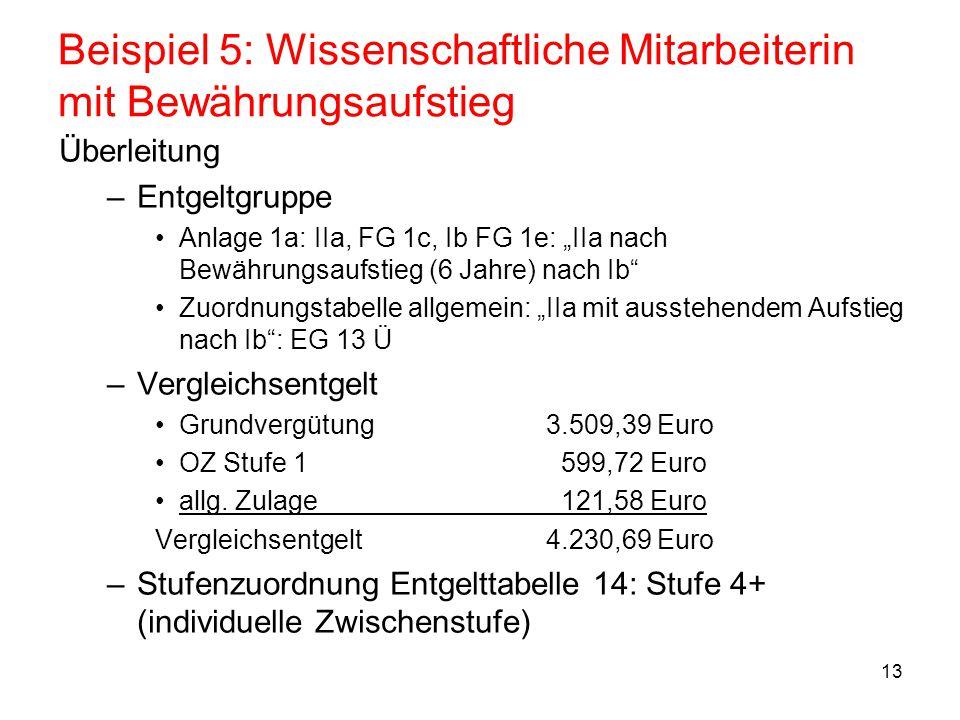 """13 Beispiel 5: Wissenschaftliche Mitarbeiterin mit Bewährungsaufstieg Überleitung –Entgeltgruppe Anlage 1a: IIa, FG 1c, Ib FG 1e: """"IIa nach Bewährungs"""