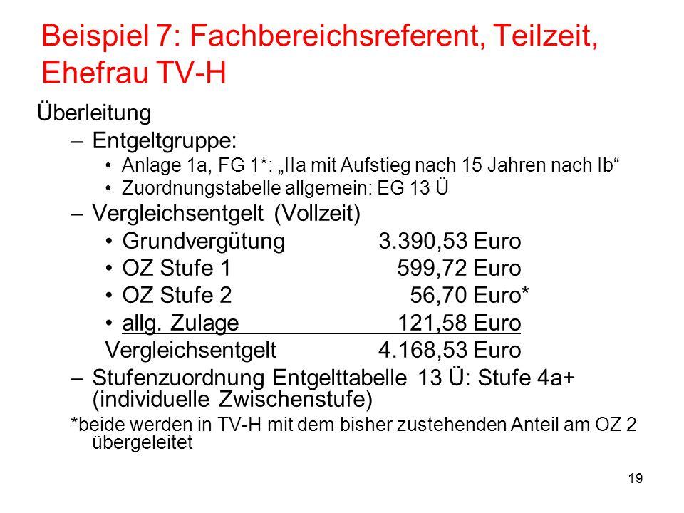 """19 Beispiel 7: Fachbereichsreferent, Teilzeit, Ehefrau TV-H Überleitung –Entgeltgruppe: Anlage 1a, FG 1*: """"IIa mit Aufstieg nach 15 Jahren nach Ib"""" Zu"""