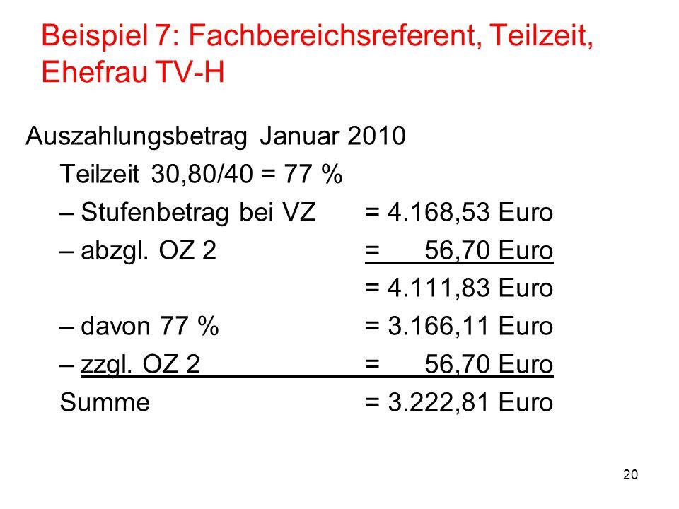 20 Beispiel 7: Fachbereichsreferent, Teilzeit, Ehefrau TV-H Auszahlungsbetrag Januar 2010 Teilzeit 30,80/40 = 77 % –Stufenbetrag bei VZ= 4.168,53 Euro